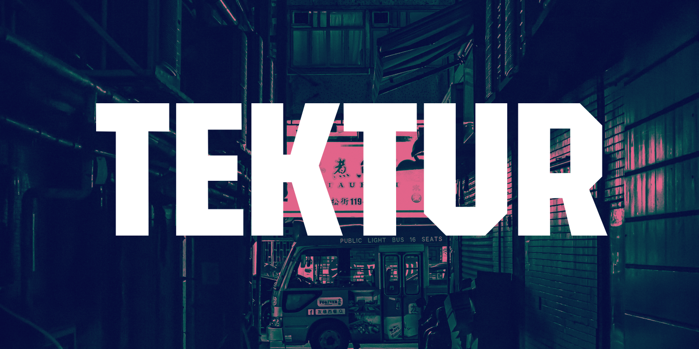 Tektur — a cool blocky font with a futuristic techy vibe about it.