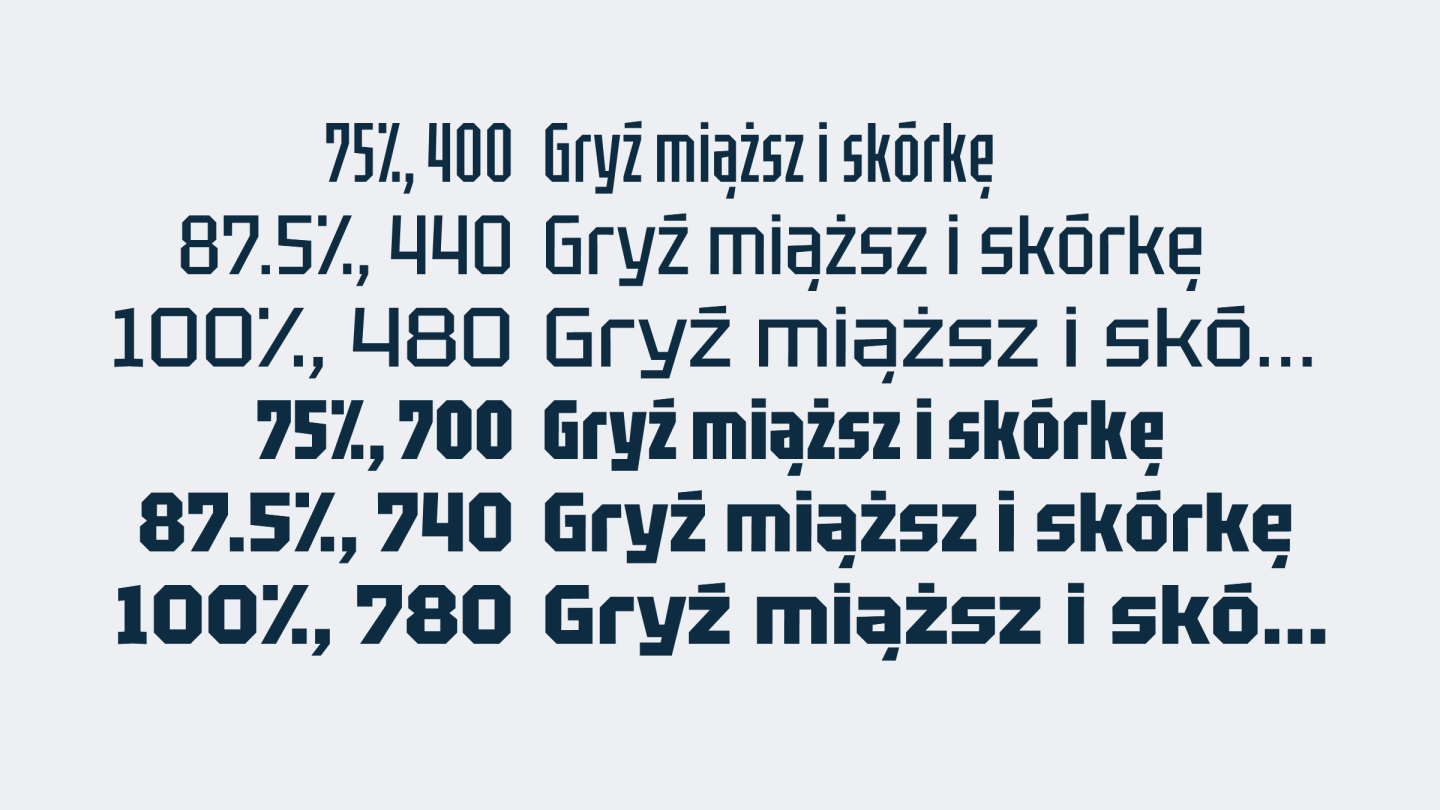 Cross-section of weights and widths of the Tektur variable font.